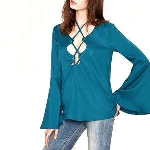 Nasty Gal bell sleeve lace up top XS green